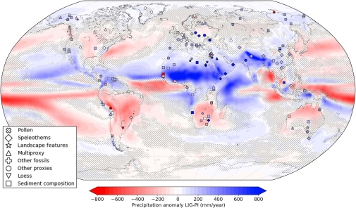 Annual precipitation anomaly between LIG and PI from models (ensemble average in contoured colors) a