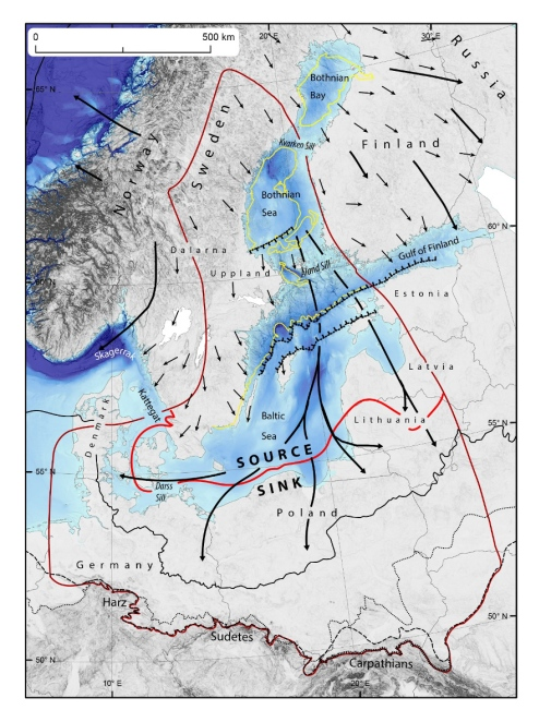 The Baltic Sea basin, with the limits of the Fennoscandian ice sheet and source and sink areas used