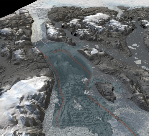 3D-visualization showing the seafloor bathymetry of the previously uncharted Sherard Osborn Fjord.